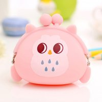 Wholesale Owl Headphones - Wholesale- DreamShining Women Owl Coin Purse Candy Color Silicone Money Bags Headphones Bag Fashion Women Coin Pouch Key Wallet Kids Gifts