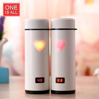 Wholesale Thermometer Coffee Cups - Wholesale- One Is All SB60169 360ML Love Heart Coffee Mug Thermos Digital LED Display Stainless Steel Thermal Bottle Vacuum Cup Thermometer