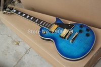 Wholesale Nice Hot Sale LP Custom electric guitar blue tiger striped maple cover real guitar pics factory direct high quality