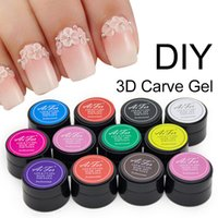 Wholesale Glitter Gel Manicure - Wholesale- Saviland 1pcs 12 Glitter Coloful 3D Sculpture Carved Glue Acrylic Nail Art Modelling Manicure Decor Painting UV Gel