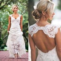 Wholesale Keyhole Wedding Dress Cap Sleeves - Full Lace Country Style Wedding Dress A-line V-neck Cap Sleeves Keyhole Back Sweep Train Vintage Plus Size Wedding Dresses