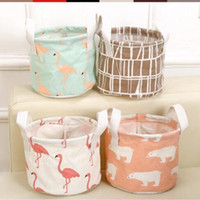 Wholesale Cotton Storage Basket - 6 Styles Round Flamingo Cotton Linen Desktop Storage Box Sundries Storage Organizer Stationery Cosmetic Storage Basket CCA8238 100pcs