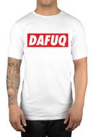 Wholesale Low Priced Men Tees - Dafuq Slogan Box Logo T-Shirt Dafuq Disobey Swag Clothing Top Men's Low Price Round Neck Men Tees