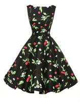 Wholesale Retro Cherry Dress - Rockabilly Dresses Vintage Pin-Up 60S 50S Summer Dress Casual Cute Cherry Print Black White Cotton Retro Vestidos Robe