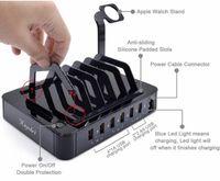 подставка для зарядки планшета оптовых-Многофункциональный 6 портов USB зарядное устройство для USB-устройств зарядная станция док-Подставка держатель для сотового телефона Tablet Camera Power Bank iWatch iPhone