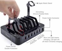 multi, telefone, cobrando, estação venda por atacado-Multi Função 6 Portas Carregador USB para Dispositivos USB Estação de Carregamento Dock Stand Titular Para Celular Tablet Banco De Potência Da Câmera iWatch iPhone