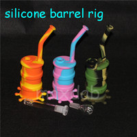 Wholesale silicone barrel bong resale online - Mini silicone dab rig Glow In Dark Silicone Water Pipe glass bongs glass water pipe silicone barrel rig