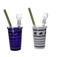 grüne farbe glas tassen großhandel-Glasbongs Starbuck In-N-OUT Kokosnuss-Baum-Strand-Form-Schalen-Ölplattform-Glaswasser-Rohr-grünen und blauen Farbwasserpfeifen