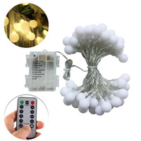 Wholesale 16 Led Flash - 16 Feet 50 LED Outdoor Globe String Lights 8 Modes Battery Operated Frosted White Ball Fairy Light Dimmable Ip65 Waterproof