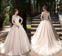 Wholesale T Back Chiffon Bridal Dress - 2017 New Vestios De Novia Elegant Wedding Dresses Lace Long Sleeves V-neck Button Back Elegant New Garden Bridal Gowns