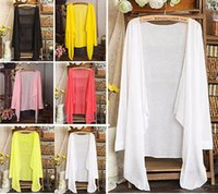 Wholesale One Size Cardigans - Wholesale-Women Sun Protection Sunscreen T-shirts Cardigan Thin Shirts Sunblock Top One Size