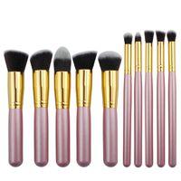 Wholesale Elegant Brush Set - Elegant Light Purple Makeup Brush Set Kits 10pcs Professional Makeup Brushes 2017 Best Gift for Women