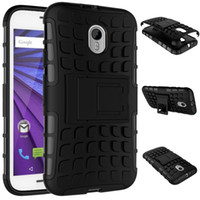 Wholesale e2 case for sale – best Shockproof Tyre Style Tough Rugged Dual Layer Hybrid Hard KickStand Heavy Duty Armor Case for Motorola Moto G3 G4 E2 X Phone Cases