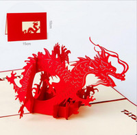 Wholesale Greeting Card Theme Christmas - 2017 Red Animal Theme Dragon Handmade 3D Pop UP Greeting Card For Birthday Greeting Gift Greeting Cards