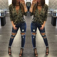 Wholesale Pink Camo For Sale - HOT SALE! 2017 Autumn Army Green Camouflage Print Sweatshirt For Women Dark Camo Lace Up Crew Neck Ribbons Casual Tee Roupas Feminino