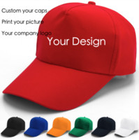 Wholesale Flat Companies - 100pcs lot Blank baseball cap outdoor sports caps printing advertising hats adult sun hat can custom-made print company design for gift