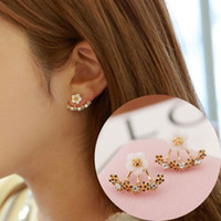Wholesale New Products South Korea - South Korea small daisy flower ear jewelry pearl horse eye leaves snow earrings new products