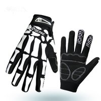 Wholesale Cross Country Bike Racing - Long Finger Riding Gloves Cycling Outdoor Gloves Skull Pattern Cross Country Mitten Mountain Bike Mitten 23017
