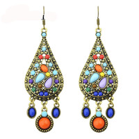 Wholesale Vintage Style Chandelier Earrings - Feelshine Ethnic Style Vintage Bronze Color with Bohemian Colorful Beads Water Drop Earrings Brincos For Women Hot Sale Jewelry