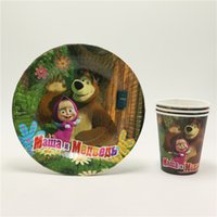 Wholesale Paper Disposable Cups Cute - Wholesale- New style cute masha and bear cartoon kids birthday decoration disposable party paper cup glass +paper plates supplies 20pcs