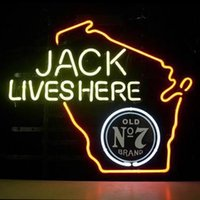 Wholesale Wisconsin Sign - Fashion New Handcraft Jack Lives Here WISCONSIN Real Glass Beer Bar Display neon sign 19x15!!!Best Offer!