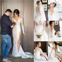 Wholesale Wedding Trails - 2018 Shiny Lace Beaded Beach Mermaid Wedding Dresses Long Sleeve Sheer Neck Modest Sexy Detachable Trail vintage Side Split Bridal Dress