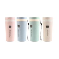 Wholesale 300ML Portable Double Layer Healthy Wheat Cup Simple Water Bottle Student Cup Straight Straw With Lid Coffee Bottles Colors