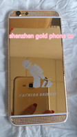 Wholesale House Discount - 2017 24K gold partial DIAMOND crystal Plating Battery Back Housing Cover Skin for iPhone 6 24kt Limited golden crystal with big discount