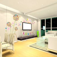 Wholesale High Quality Colorful Dandelion Wall Stickers DIY Love Art Mural Decal Home Decoration Removable Retail and