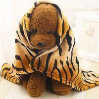 Wholesale Stripe Coral Fleece Blanket - Wholesale- Soft Warm Puppy Tiger Stripes Blanket Pet Leopard Coral Fleece Pet Blanket Cat Bed Mat Dog Cover Towel