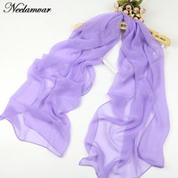 Wholesale Solid Georgette Scarf - Wholesale-hot selling Spring and Autumn Georgette long scarves multicolor thin simple solid color scarf chiffon shawl