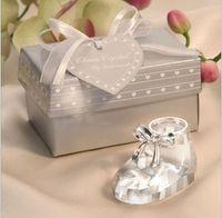 figürchenhochzeit großhandel-Crystal Baby Schuhe Ornamente mit Geschenk Box Keepsakes Baby Geburtstag Dusche Geschenk Kristall Schuh Figurine WeddingBridal Gefälligkeiten