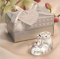 adornos de zapatos de bebé al por mayor-Zapatos de bebé de cristal Adornos con caja de regalo Recuerdos Regalo de ducha de cumpleaños de bebé Zapatos de cristal Figurita de bodaBridal Favors