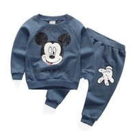 Wholesale Korea Style Fashion Baby Boy - Wholesale- New arrival autumn spring baby boys clothing sets cartoon tops + pants suit for infant girls korea fashion style tracksuits