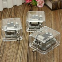 Wholesale Alice 18 - Tune For Alice Mini Acrylic Musical Box Metallic 18 Notes Musical Movement Musical Festival Holiday Gift