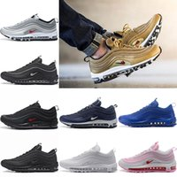 Wholesale Hard Silver - 2017 New Air Cushion 97 shoes Man Running Shoes Silver Bullet Triple white balck Metallic Gold Mens women Casual Sport Sneakers Eur 36-46