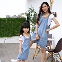 Wholesale Denim Shirt Rivets - 2017 mother and daughter summer clothes family clothing blue jean rivet strap only denim dress family matching outfits no shirt