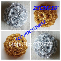 Wholesale Gold Kissing Balls Wholesale - sofa 10' 25CM GOLD SILVER artificial rose flower wedding flower ball kissing ball wedding supermarkdet deoration hangings