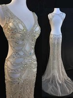 Wholesale Real Image Evening Dresses - Real Sample Crystals Beads Bling Bling Mermaid Evening Dresses See Through New Arrival Real Image Evening Gowns 2017
