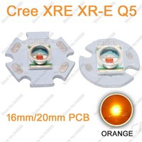 Wholesale Cree Q5 Led Emitter - Wholesale- Cree XLamp XRE XR-E Q5 3W Orange 610nm - 620NM High Power LED Light Emitter Bead on 16mm   20mm PCB Heatsink 10pcs lot