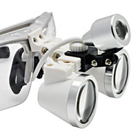 Wholesale Dental Loupes Led - Freeshipping Zoom in support equipment biologic observe toll Silver dental glasses 3.5X 420mm+LED Head Light Lamp Headlight aid loupes