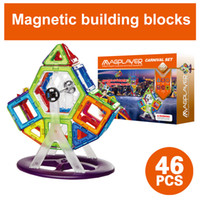Wholesale Intelligent Doll - Magnetic building Blocks Toys 46pcs 3D Magnet Bricks Stacking Set intelligent magnetic construction set Ferris wheel+action figure dolls
