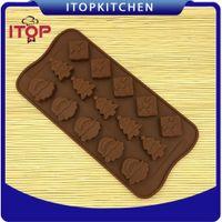 ingrosso sapone muffe natale-ITOP 5pcs / lot muffe del cioccolato del fondente del silicone dell'albero di Natale modellano la muffa del cioccolato per Natale e l'anno nuovo