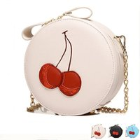 Wholesale Patterns Cell Phone Pouch - 2017 Red Cherry Purse Crossbody Bag PU Hand Bag Cute Round Fruit Pattern Coin Purse Cherries Accessories Pouch Sweet Lolita Style
