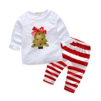 kids clothes trees 2018 - 2017 Xmas Girls Baby Childrens Clothing Sets Christmas Tree T-shirts Striped Pants 2Pcs Set Autumn Cotton Toddler Kids Boutique Clothes Suit