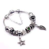 Wholesale Hj Diy - DIY hot sell women ladies beaded chians bracelets strands big holes New Arrival charm bangle silver bracelet-HJ-1622001