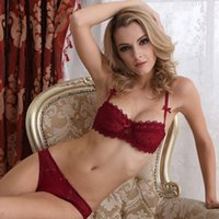 Wholesale Thin Comfortable Underwear - MOXIAN Ultra-thin transparent bra 2017 new fun underwear bra set Sexy lace comfortable Manufacturers wholesale Embroidery cups A B C D 2080