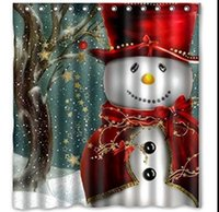 Wholesale Snowman Shower Curtain Merry Christmas Sleepy Snowman Pattern Bathroom Shower Curtain Christmas Bath Curtain cm KKA2106