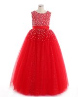 Wholesale Infants Birthday - High Quality Red Flower Girl Dress First Communion Dresses For Girl Tulle Lace Infant Toddler Pageant for Wedding and Birthday