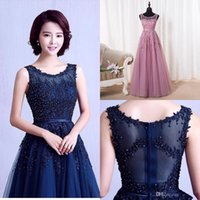 Wholesale Evening Dresses Crystal Tulle Transparent - Robe De Soiree 2016 New Sweet Pink Lace Beading Long Evening Dress Bridal Scoop Sleeveless Transparent Banquet Sexy Prom Dresses